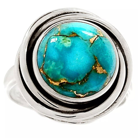 Blue Copper Turquoise Sterling Silver Nest Ring