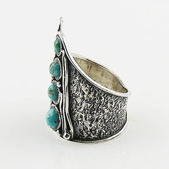 Blue Turquoise Whimsical Sterling Band Ring - Keja Designs Jewelry