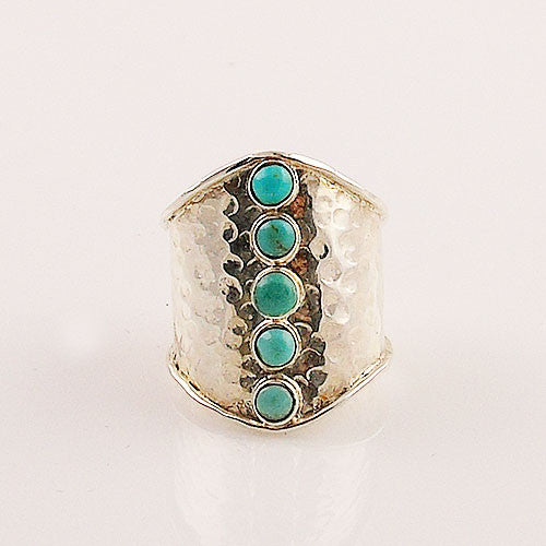 Blue Turquoise Hammered Band Sterling Silver Ring - Keja Designs Jewelry