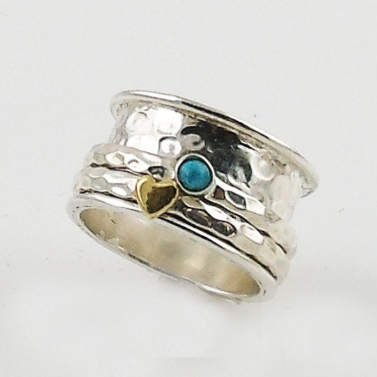 Spinner Ring TwoTone Turquoise Heart - Keja Designs Jewelry