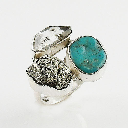 Herkimer Diamond, Pyrite Drusy & Turquoise Sterling Silver Ring - Keja Designs Jewelry