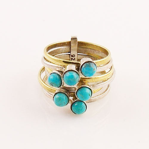 Blue Turquoise Sterling Silver Two Tone Stack Ring - Keja Designs Jewelry