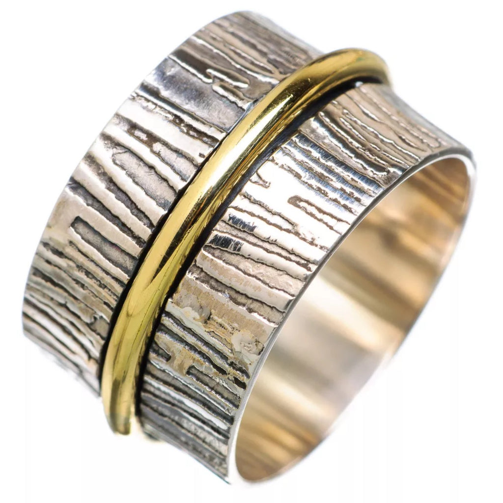 Textured Two Tone Single Spinner Ring - Keja Designs Jewelry