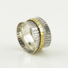 Spinner Ring - Two Tone - Single Spinner - Keja Jewelry - Keja Designs Jewelry