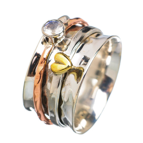 Spinner Ring - Three Tone Tone White Topaz & Bronze Heart