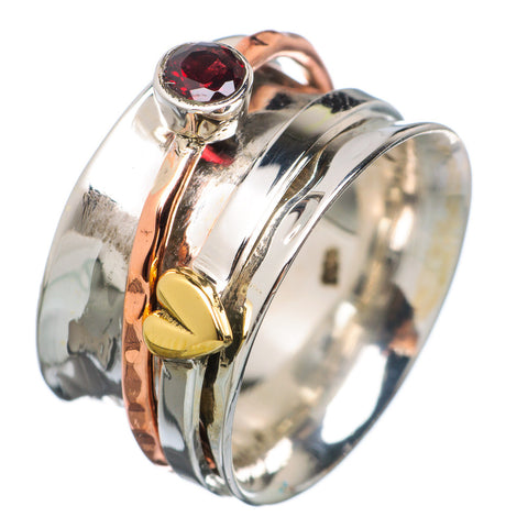 Spinner Ring - Three Tone Tone Garnet & Bronze Heart