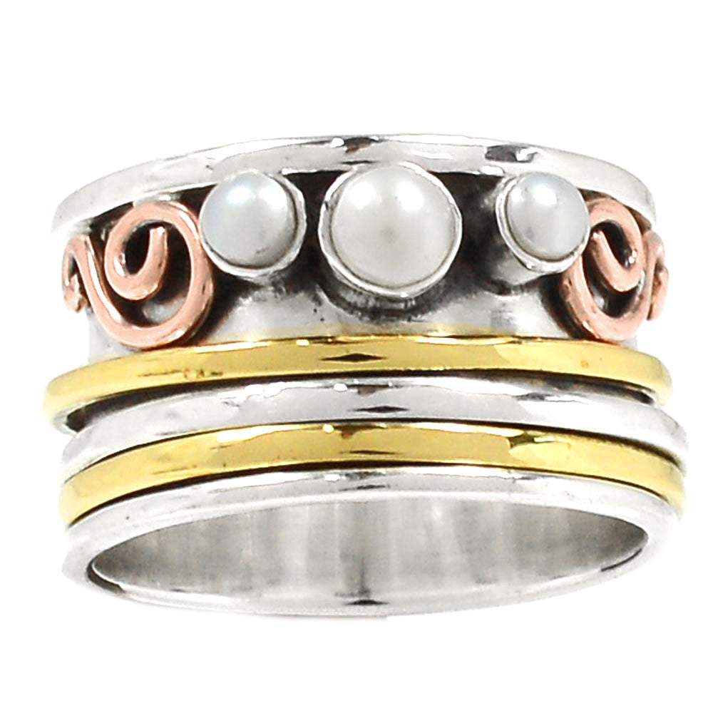 Spinner Ring Two Tone Pearl Spinner - Keja Designs Jewelry