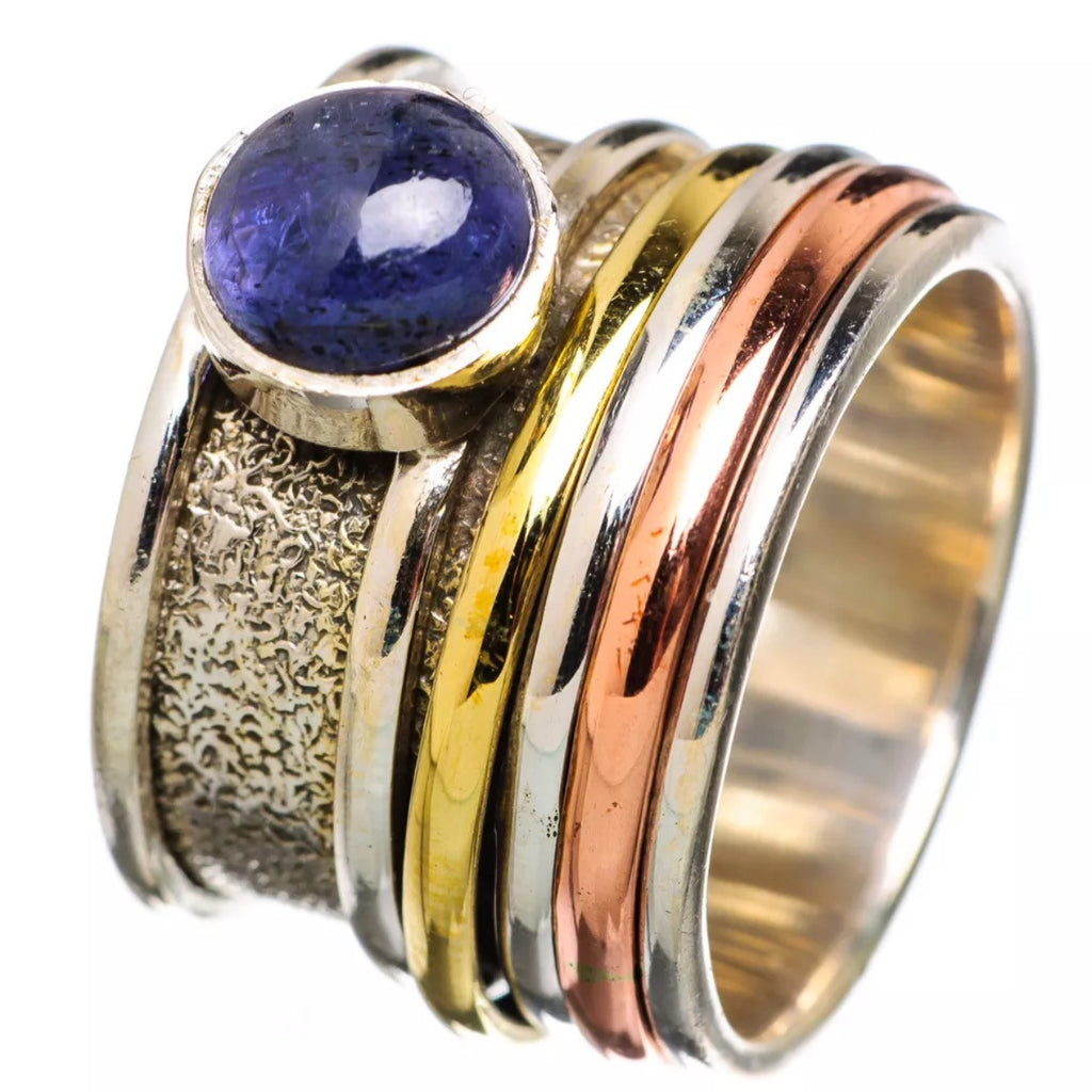 Spinner Ring Three Tone Tanzanite - Keja Designs Jewelry