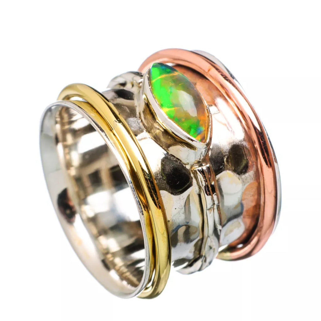 Spinner Ring Ethiopian Opal Fancy Cut - Keja Designs Jewelry