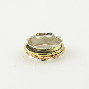 Three Tone Scaloped Edge Spinner Ring - Keja Designs Jewelry