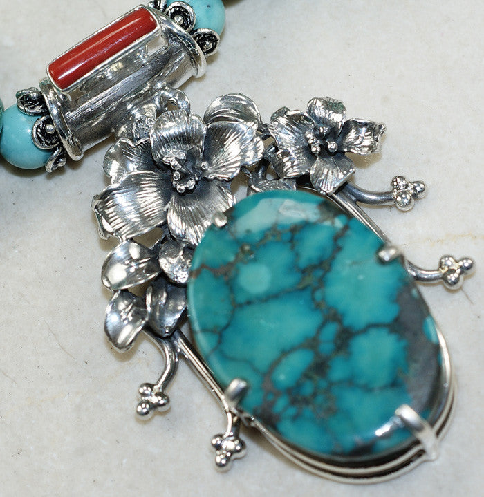 Santa Rosa Turquoise and Coral Sterling Silver Necklace - Keja Designs Jewelry