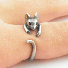 Animal Wrap Ring - Mouse - White Bronze - Adjustable Ring - Keja Jewelry - Keja Designs Jewelry