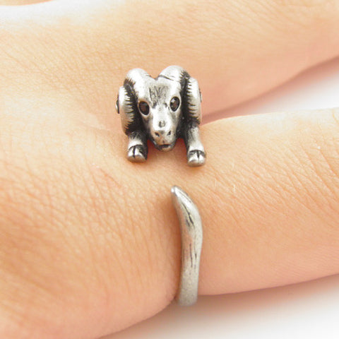 Animal Wrap Ring - Ram - White Bronze - Adjustable Ring - keja jewelry