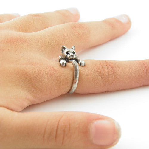 Animal Wrap Ring - Bobcat - White Bronze - Adjustable Ring - keja jewelry - Keja Designs Jewelry