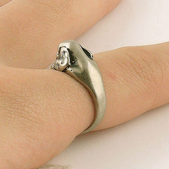 Animal Wrap Ring - Spaniel Dog - White Bronze - Adjustable Ring - keja jewelry - Keja Designs Jewelry