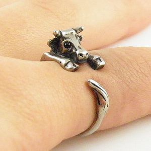 Animal Wrap Ring - Cow - White Bronze - Adjustable Ring - keja jewelry - Keja Designs Jewelry