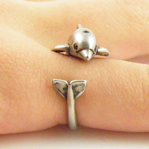 Animal Wrap Ring - Dolphin - White Bronze - Adjustable Ring - keja jewelry