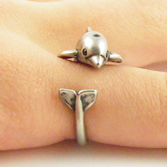 Animal Wrap Ring - Dolphin - White Bronze - Adjustable Ring - keja jewelry - Keja Designs Jewelry