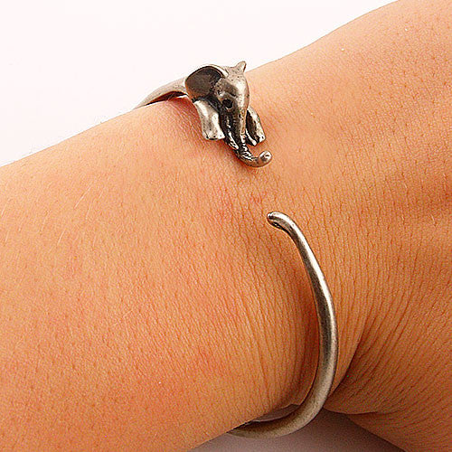 Animal Wrap Bracelet- Elephant - White Bronze - keja jewelry - Keja Designs Jewelry