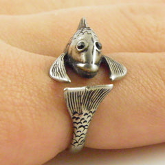 Animal Wrap Ring - Fish - White Bronze - Adjustable Ring - keja jewelry - Keja Designs Jewelry
