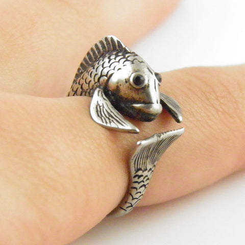 Animal Wrap Ring - Fish - White Bronze - Adjustable Ring - keja jewelry
