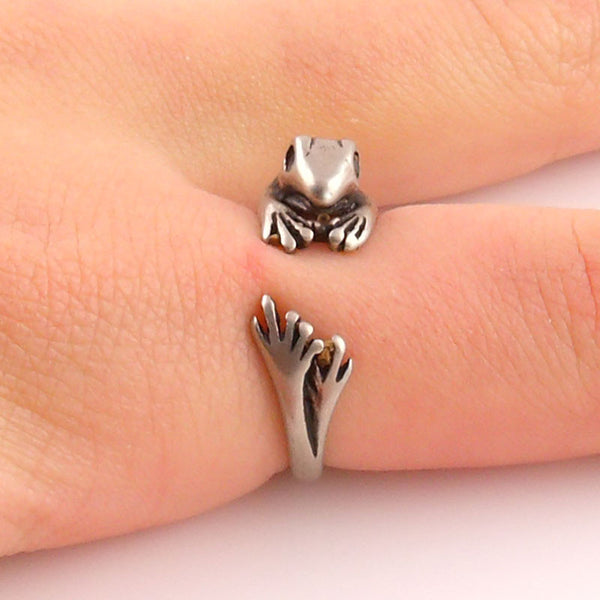 Animal Wrap Ring - Frog - White Bronze - Adjustable Ring - keja jewelry - Keja Designs Jewelry
