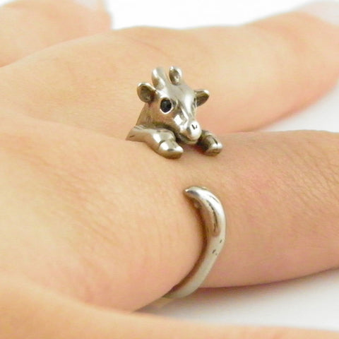 Animal Wrap Ring - Giraffe - White Bronze - Adjustable Ring - keja jewelry