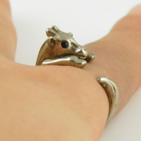 Animal Wrap Ring - Giraffe - White Bronze - Adjustable Ring - keja jewelry - Keja Designs Jewelry