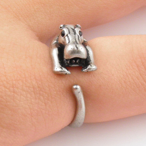 Animal Wrap Ring - Hippo - White Bronze - Adjustable Ring - keja jewelry - Keja Designs Jewelry