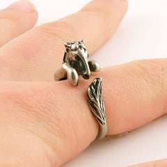 Animal Wrap Ring - Horse - White Bronze - Adjustable Ring - Keja Jewelry - Keja Designs Jewelry