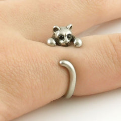 Animal Wrap Ring - Kitten / Cat - White Bronze - Adjustable Ring - Keja Designs Jewelry