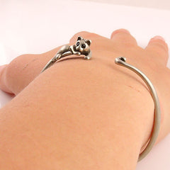 Animal Wrap Bracelet- Lazy Cat - White Bronze - Keja Designs Jewelry