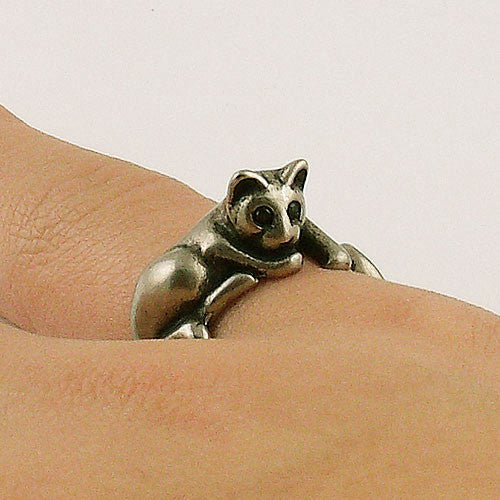 Animal Wrap Ring - Lazy Cat - White Bronze - Adjustable Ring - keja jewelry - Keja Designs Jewelry