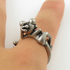 Animal Wrap Ring - Tree Frog - White Bronze - Adjustable Ring - keja jewelry - Keja Designs Jewelry
