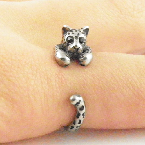Animal Wrap Ring - Leopard - White Bronze - Adjustable Ring - keja jewelry - Keja Designs Jewelry
