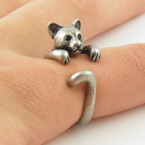 Animal Wrap Ring - Cougar / Panther - White Bronze - Adjustable Ring - keja jewelry - Keja Designs Jewelry