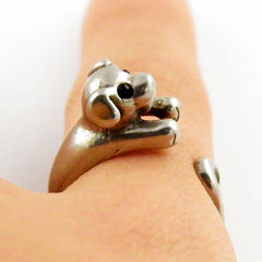 Animal Wrap Ring - Puppy - White Bronze - Adjustable Ring - keja jewelry - Keja Designs Jewelry