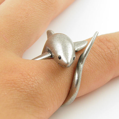Animal Wrap Ring - Shark - White Bronze - Adjustable Ring - Keja Designs Jewelry