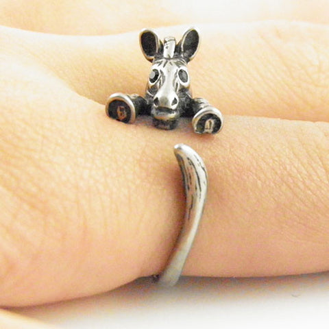 Animal Wrap Ring - Zebra - White Bronze - Adjustable Ring - keja jewelry