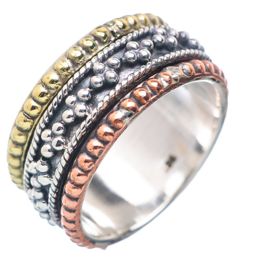 Spinner Ring - Three Tone Sterling Silver Milgrain Spinner - Keja Designs Jewelry