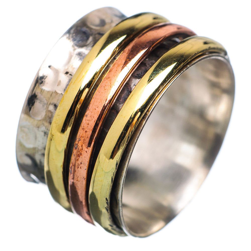 Spinner Ring - Hammered Three Tone - Keja Designs Jewelry
