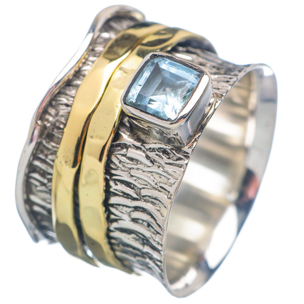Spinner Ring - Two Tone Blue Topaz & Bronze - Keja Designs Jewelry