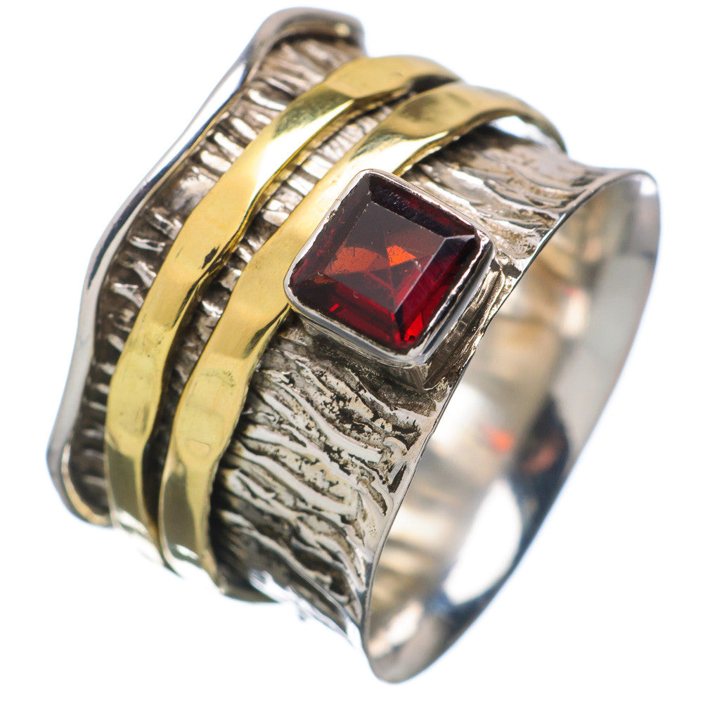 Spinner Ring - Two Tone Garnet & Bronze - Keja Designs Jewelry