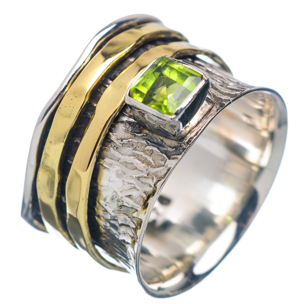 Spinner Ring - Two Tone Peridot & Bronze - Keja Designs Jewelry