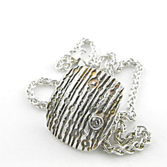 Patinaed Bubbles and Stripes Pendant - Keja Designs Jewelry