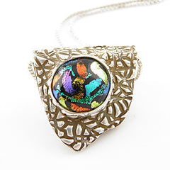 Dichroic Glass - Stained Glass - Pure Silver - Pendant - Keja Designs Jewelry