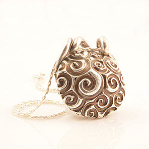Spiral & Threads Two Sided Pure Silver Pendant - Keja Designs Jewelry