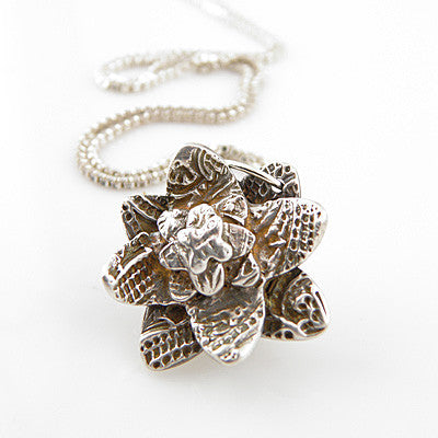 Textured Flower Pendant - Keja Designs Jewelry