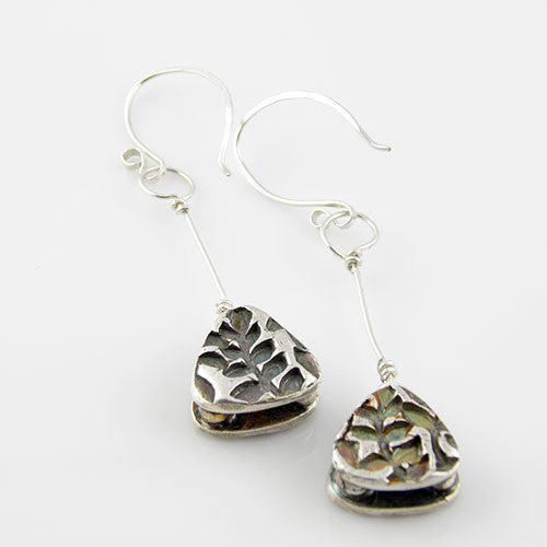 Leaf Vine - Two Sided Toggle Pure Silver Earrings - Keja Designs Jewelry
