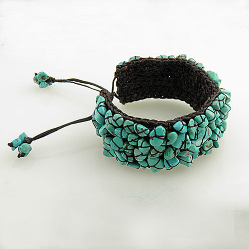 Turquoise Nugget -  Adjustable Hand Woven Bracelet - keja jewelry - Keja Designs Jewelry